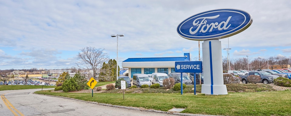 Exterior photo of AutoNation Ford East sign and service center