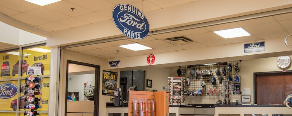 Interior view of parts counter and cashier at AutoNation Ford Frisco