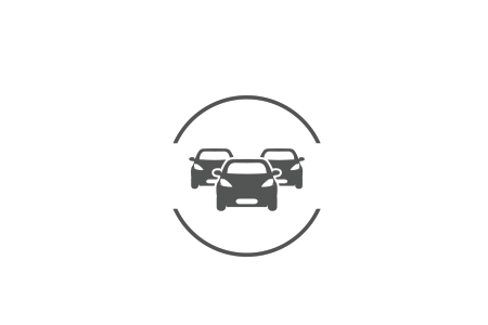 Icon of a group of vehicles in a silhouette