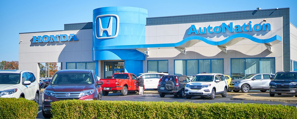 Used Honda Civic vehicles outside AutoNation Honda Covington Pike
