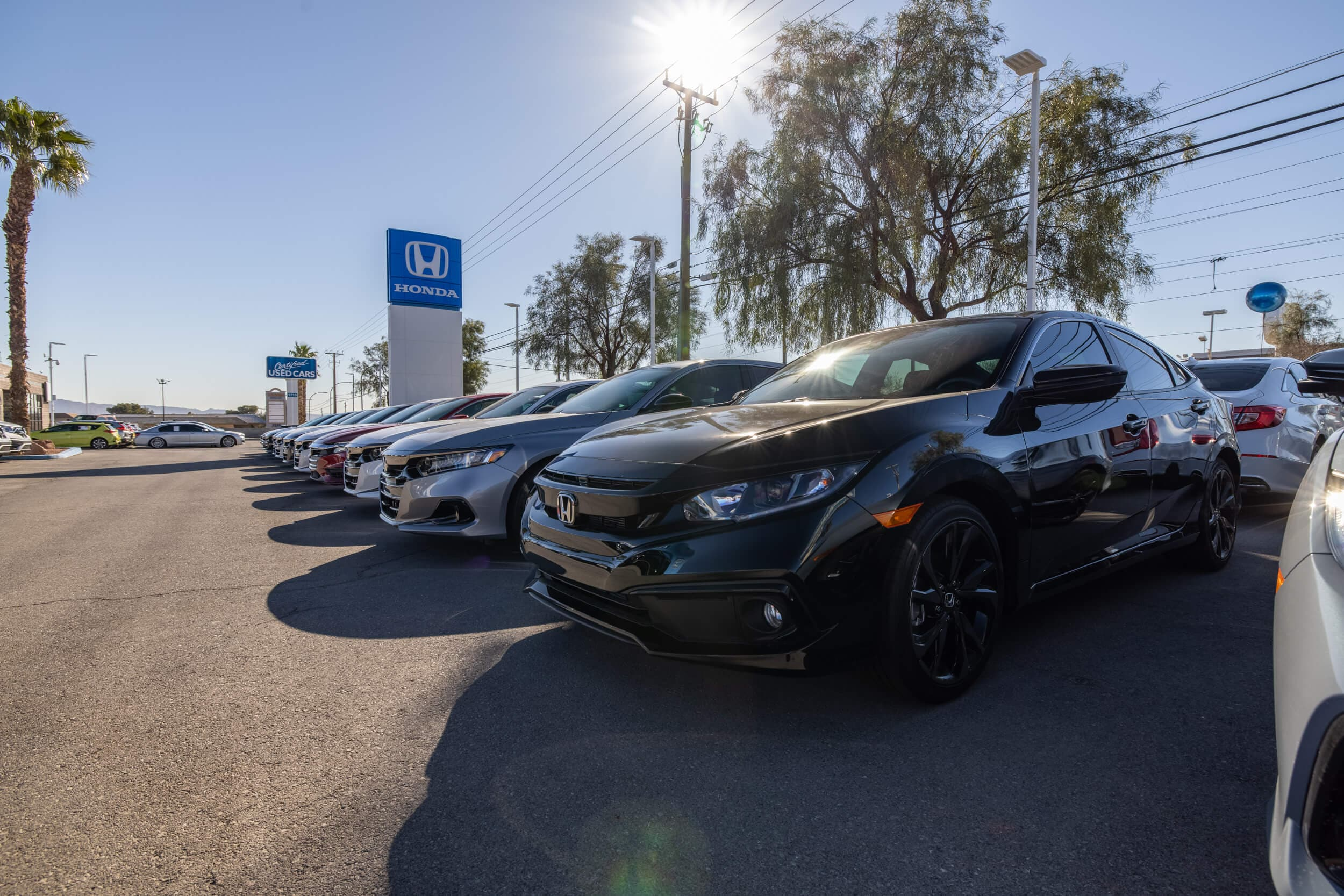 View of the cars, trucks, and SUVs available at AutoNation Honda East Las Vegas