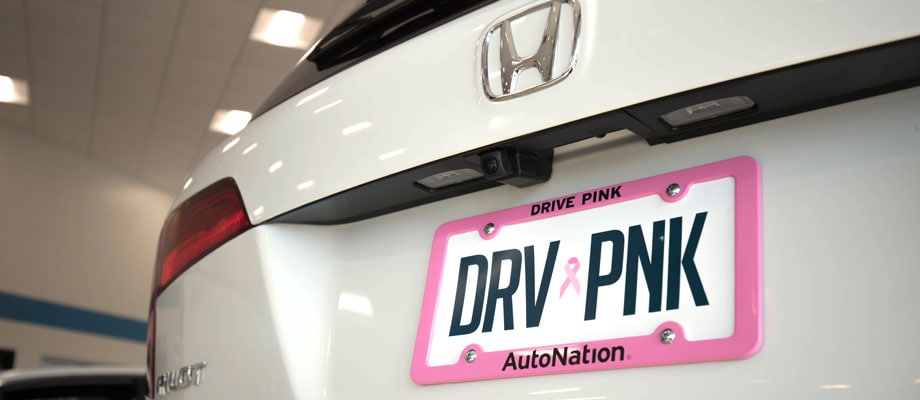 View of rear license plate on white Honda vehicle