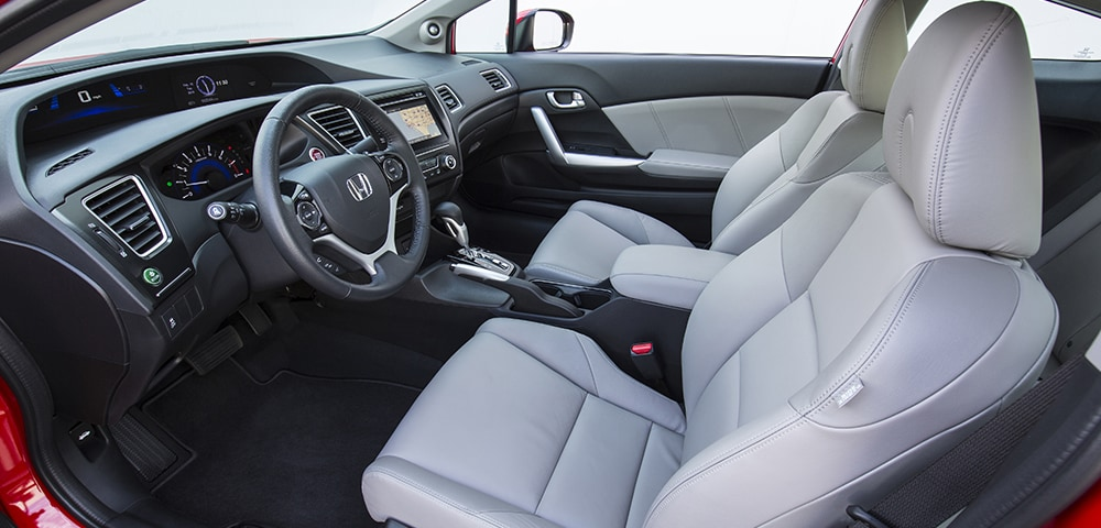 2015 Honda Civic EX-L interior featuring leather seats and navigation