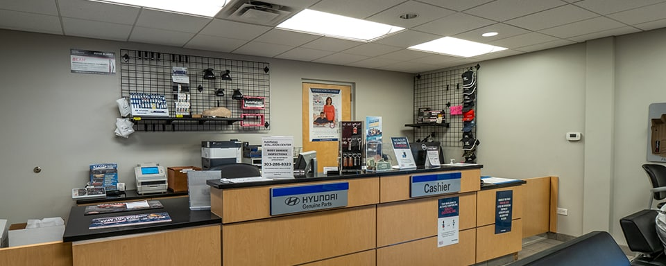 Shot of AutoNation Hyundai 104's Parts Department with Hyundai parts for sale