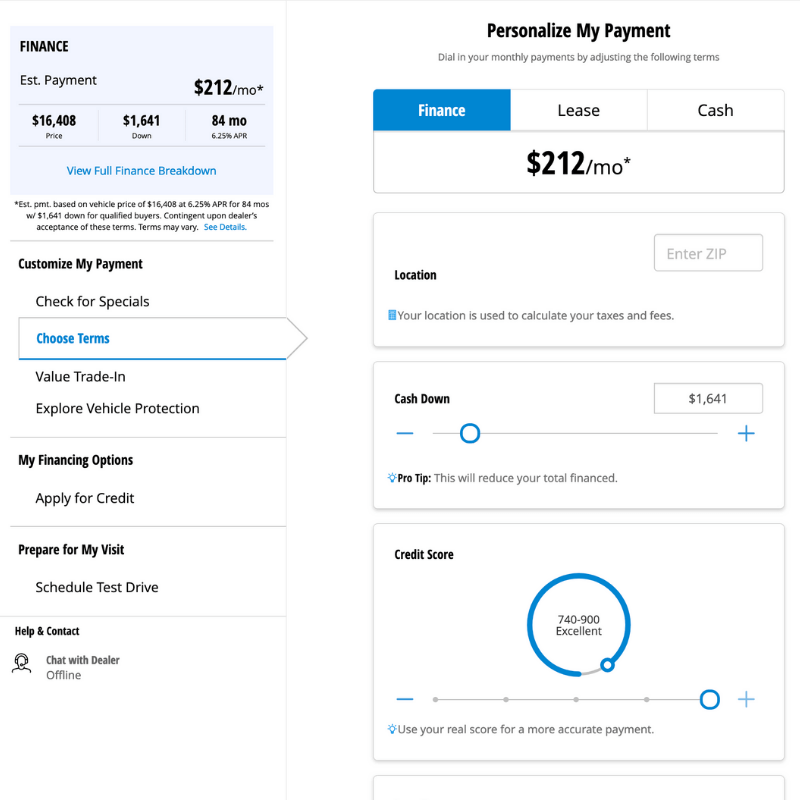 Personailze your payment options tool