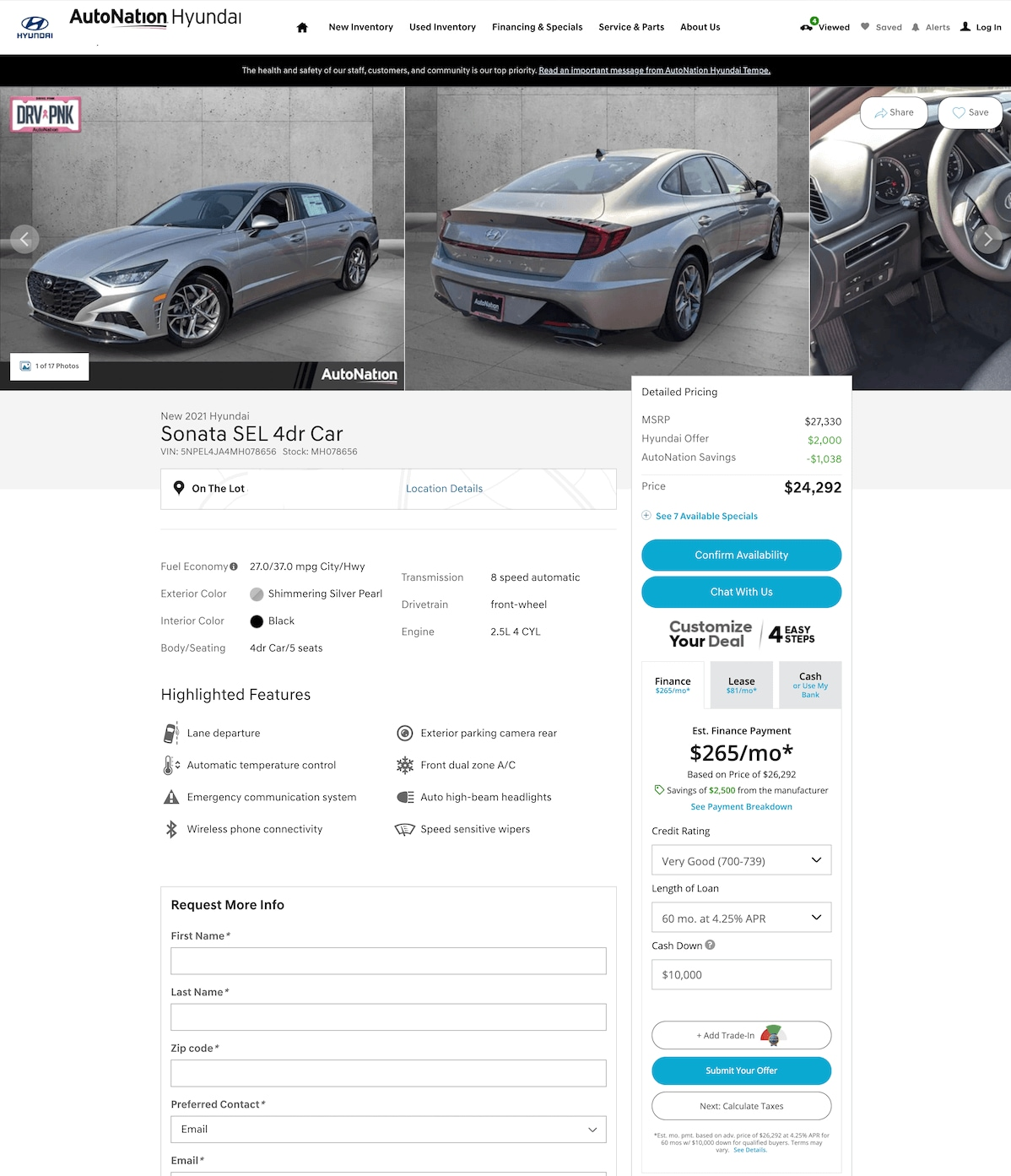 AutoNation Hyundai O'Hare vehicle details page