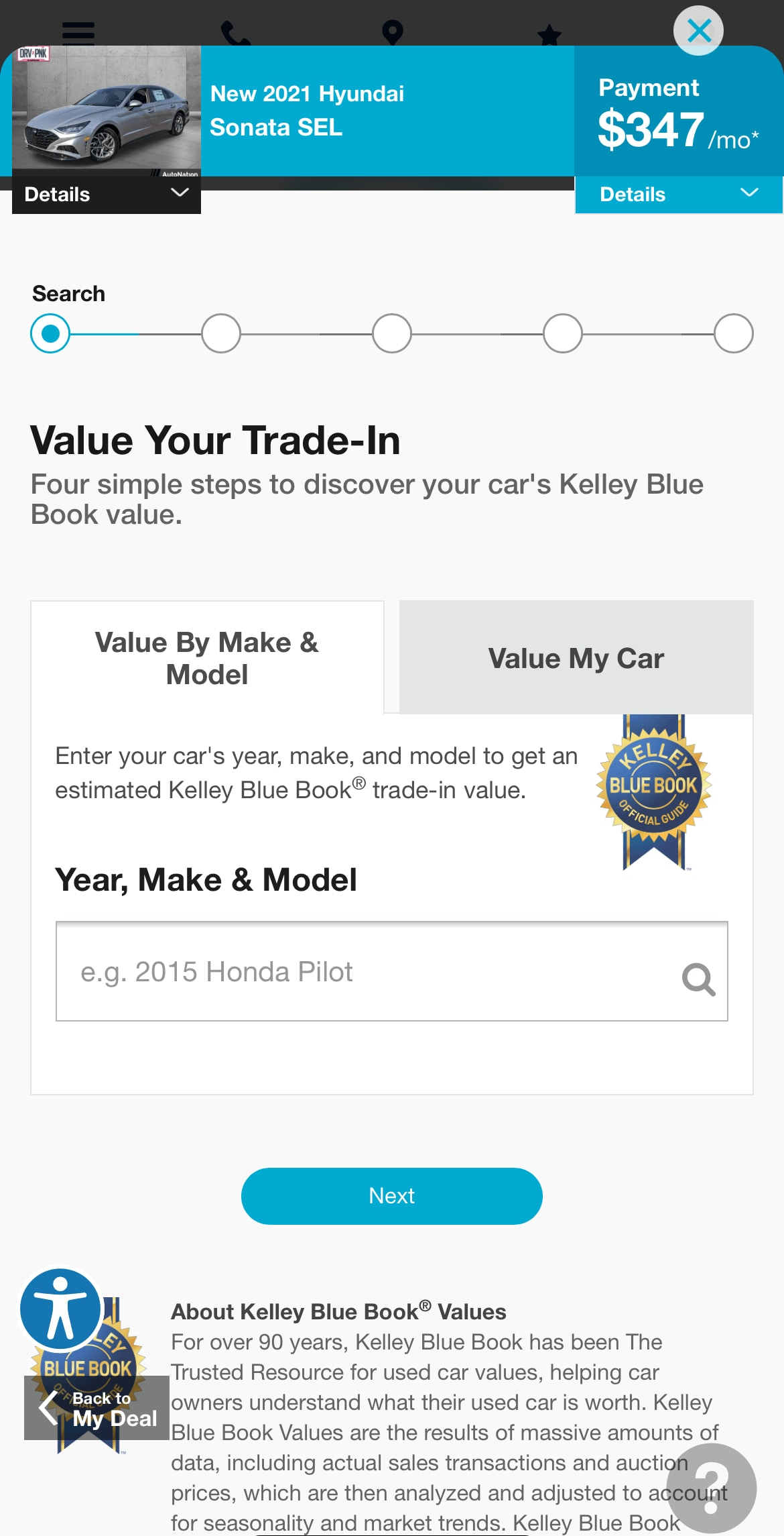 AutoNation Express value your trade-in screen on a mobile device