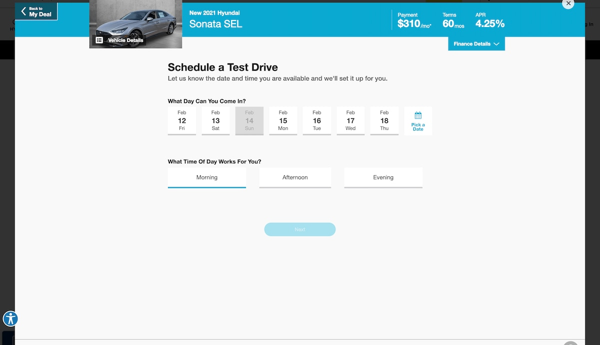 AutoNation Express schedule a test drive screen on desktop