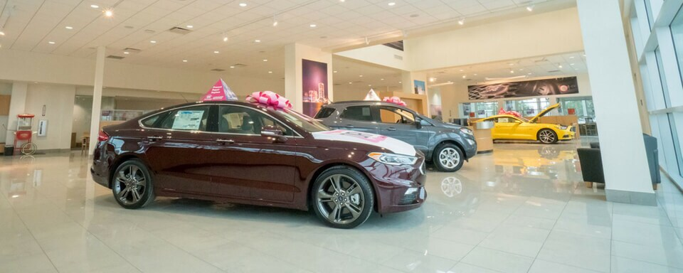 AutoNation Ford Jacksonville showroom with new Ford vehicles for sale