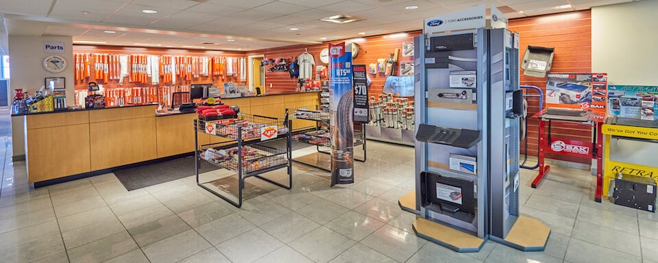 Interior view of parts center and cashier at AutoNation Ford Littleton