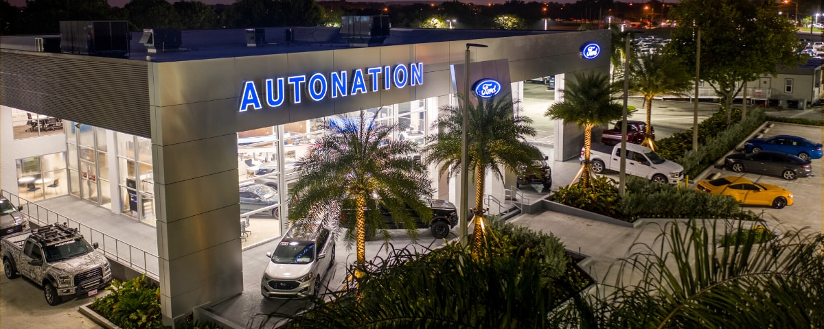 Aerial view of AutoNation Ford Margate in the evening