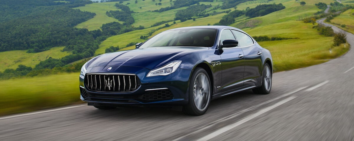Maserati Quattroporte on twisty road