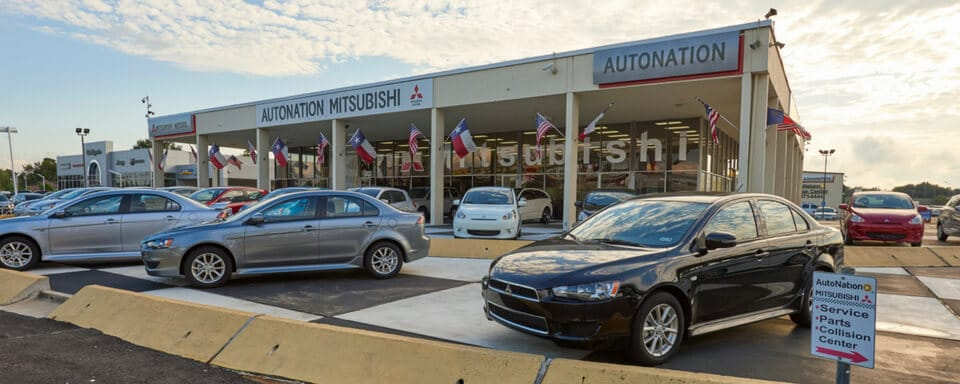 Exterior view of AutoNation Mitsubishi during the day