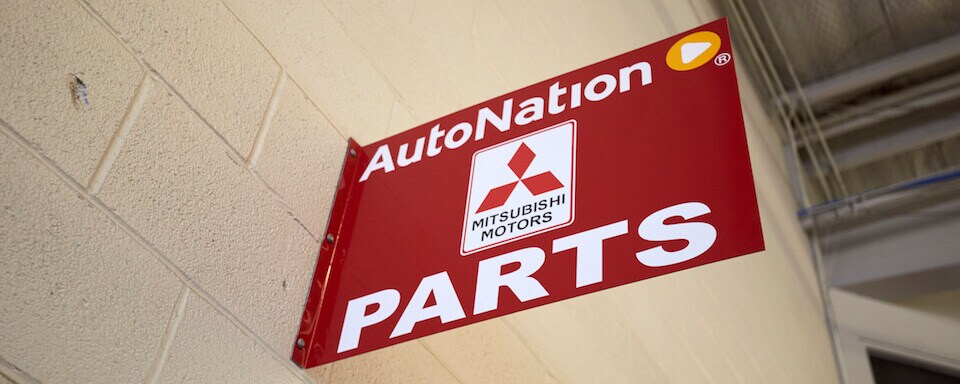 red sign of AutoNation Mitsubishi Parts Center id=