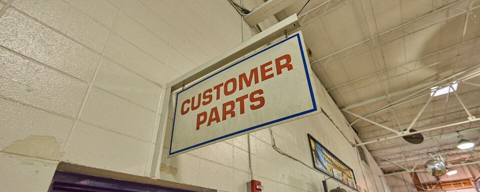 Parts Center sign at AutoNation Ford Mobile service center