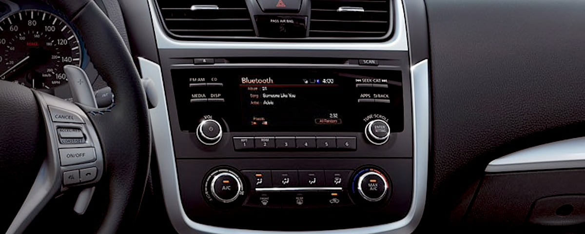 Nissan dashboard with bluetooth screen