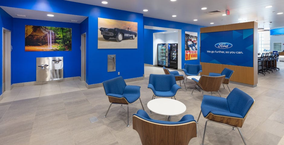 View of front desk waiting area at AutoNation Ford North Canton