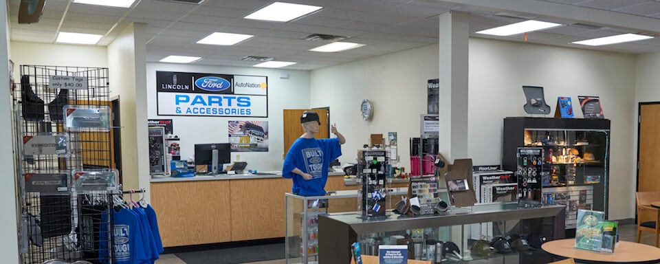 Interior view of parts center and cashier at AutoNation Ford Orange Park