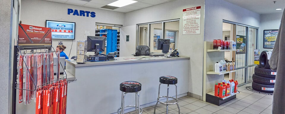 Interior view of AutoNation Ford Panama City parts department and cashier