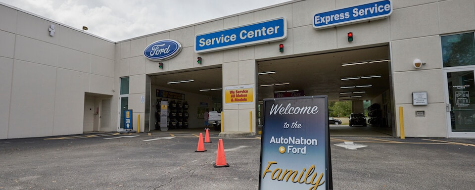 Exterior view of AutoNation Ford Sanford service center entrance