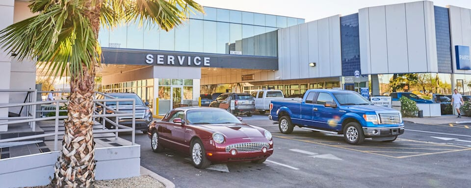 Sunset photo of Ford Thunderbird outside AutoNation Ford Scottsdale service center
