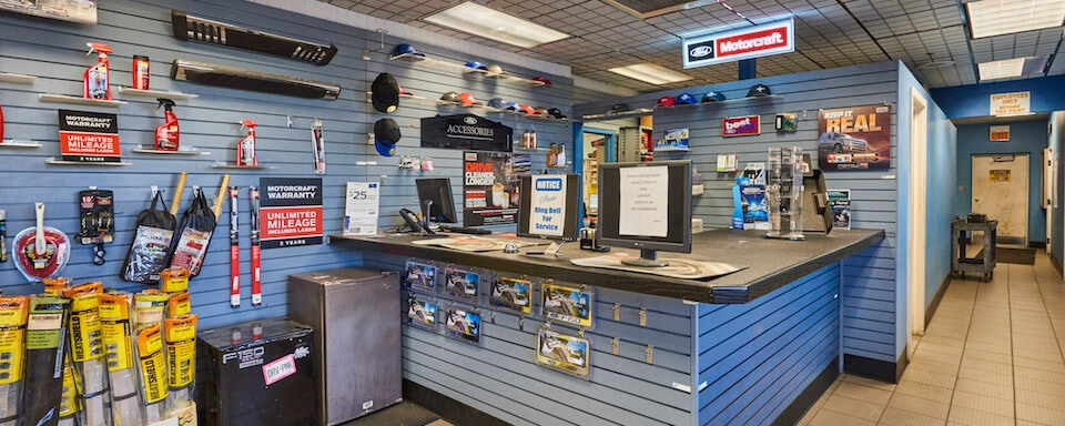 Interior view of AutoNation Ford Scottsdale parts department and register