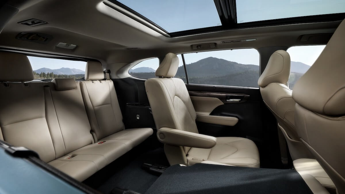 2021 Toyota Highlander third-row seating in Harvest Beige leather