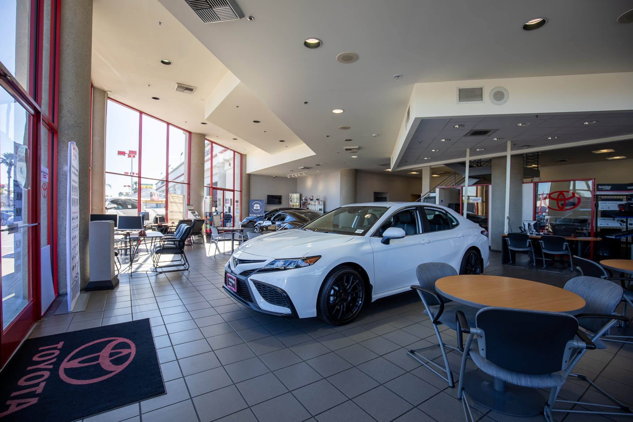 Interior view of the showroom floor at AutoNation Toyota Buena Park