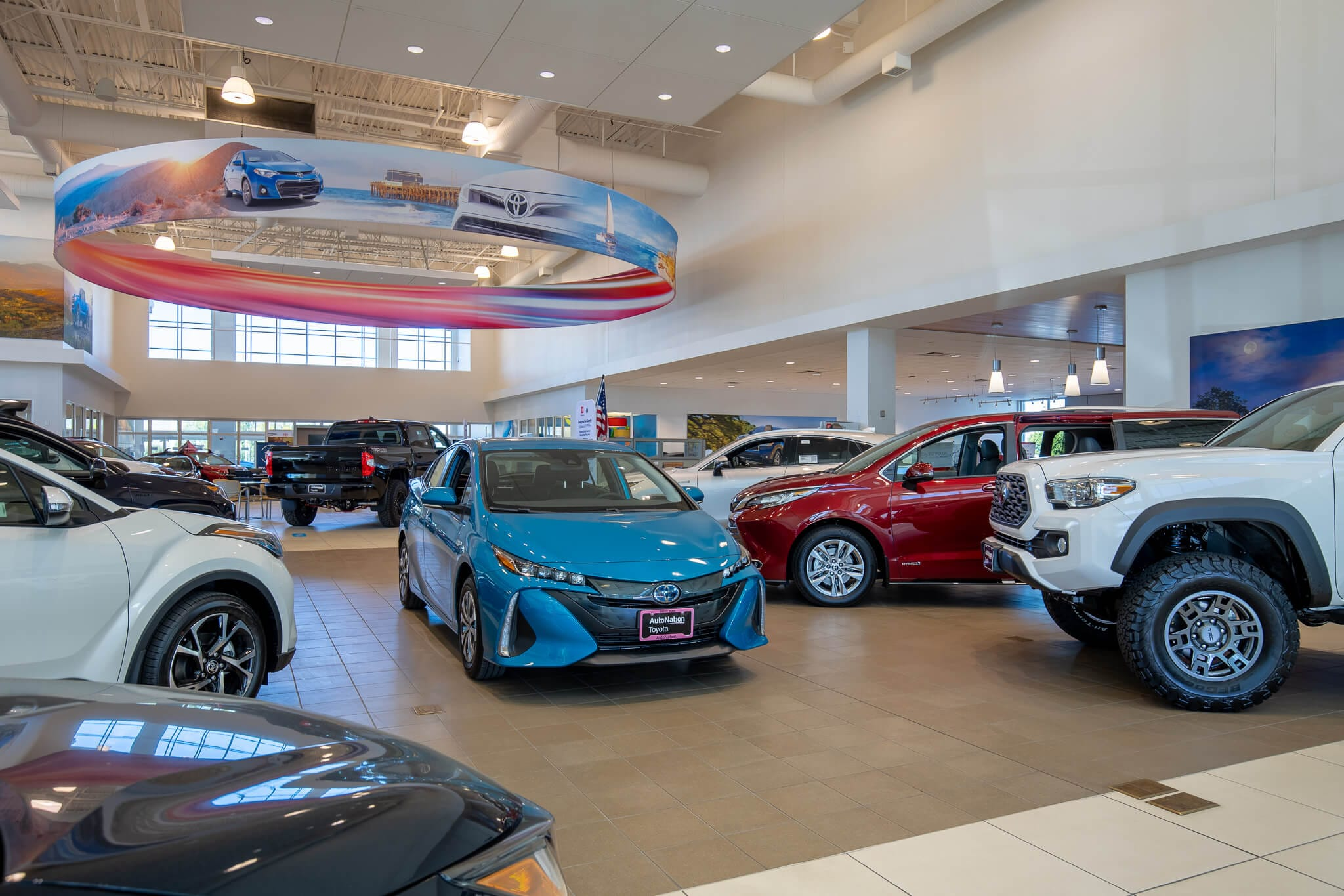 Interior view of the Toyota showroom at AutoNation Toyota Irvine