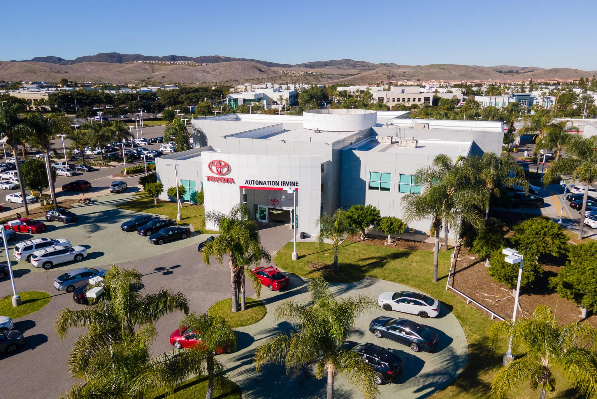 View of AutoNation Toyota Irvine from above