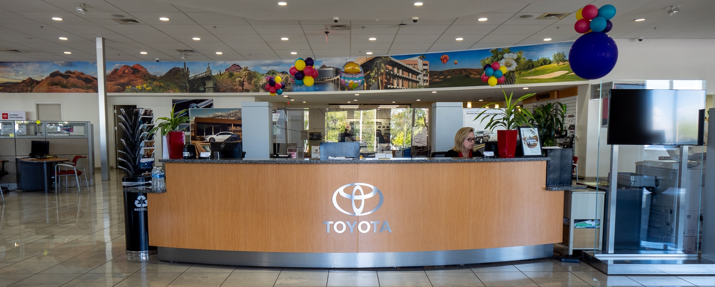 View of the front desk at AutoNation Toyota Tempe