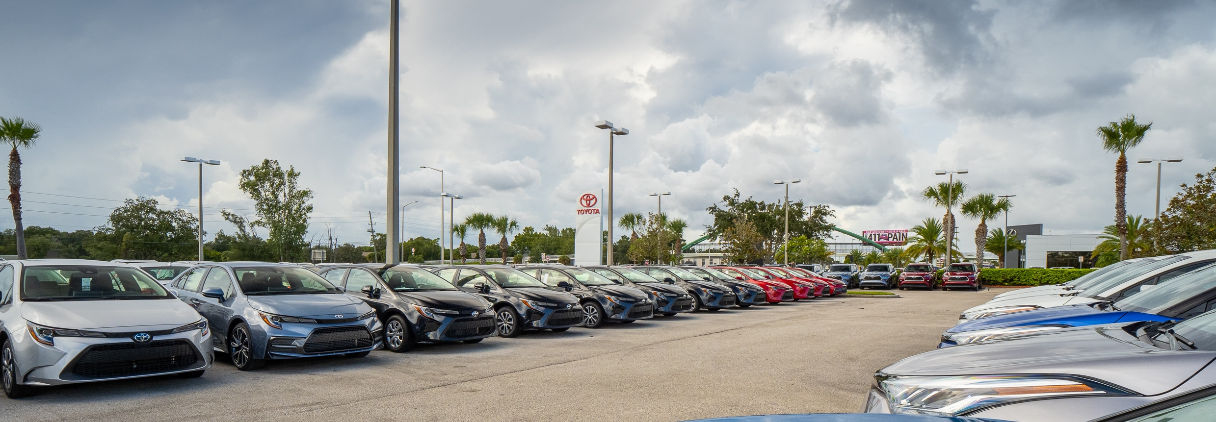 View of AutoNation Toyota Winter Park inventory lot