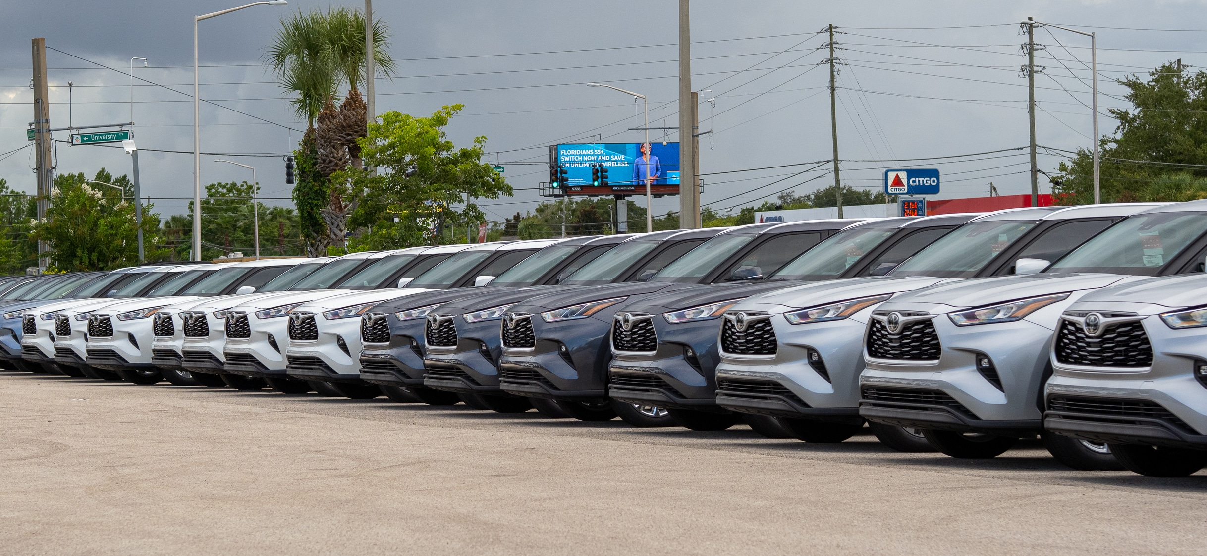 row of cars at AutoNation Toyota Winter Park