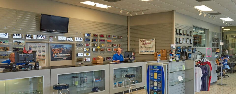 View of parts counter and cashier at AutoNation Ford Union City
