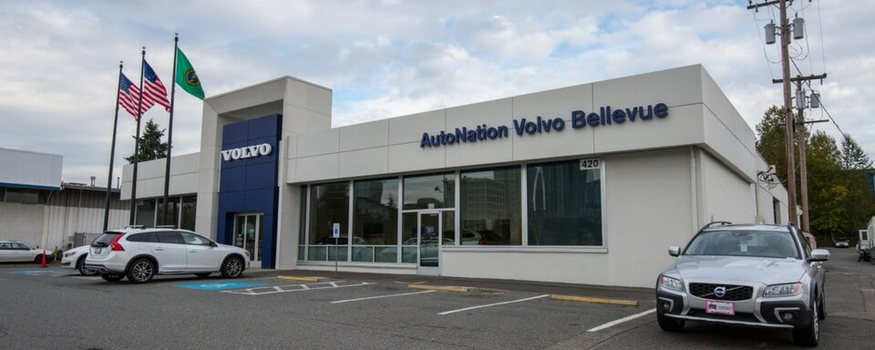 Exterior shot during the day of AutoNation Volvo Cars Bellevue, an auto dealership where cars and SUVs are sold.