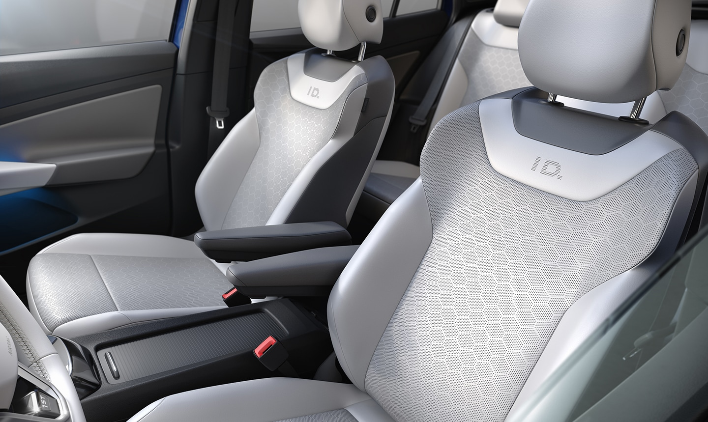 VW ID.4 heated front seats in Lunar Gray V-Tex leatherette