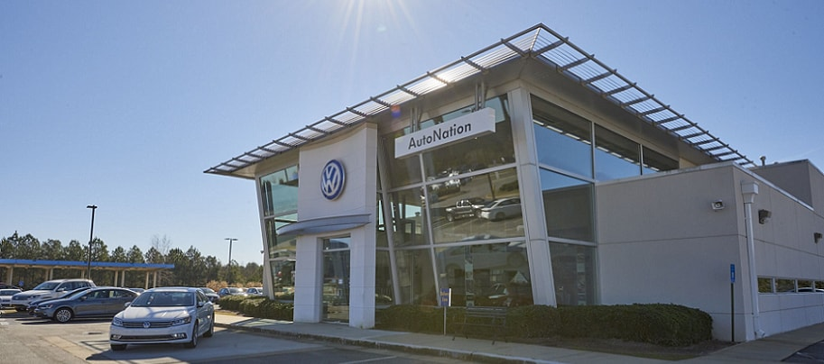 Exterior entrance to AutoNation Volkswagen Columbus dealer during the day