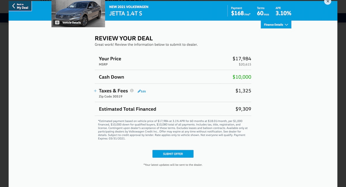 AutoNation Express finalize your deal screen on desktop