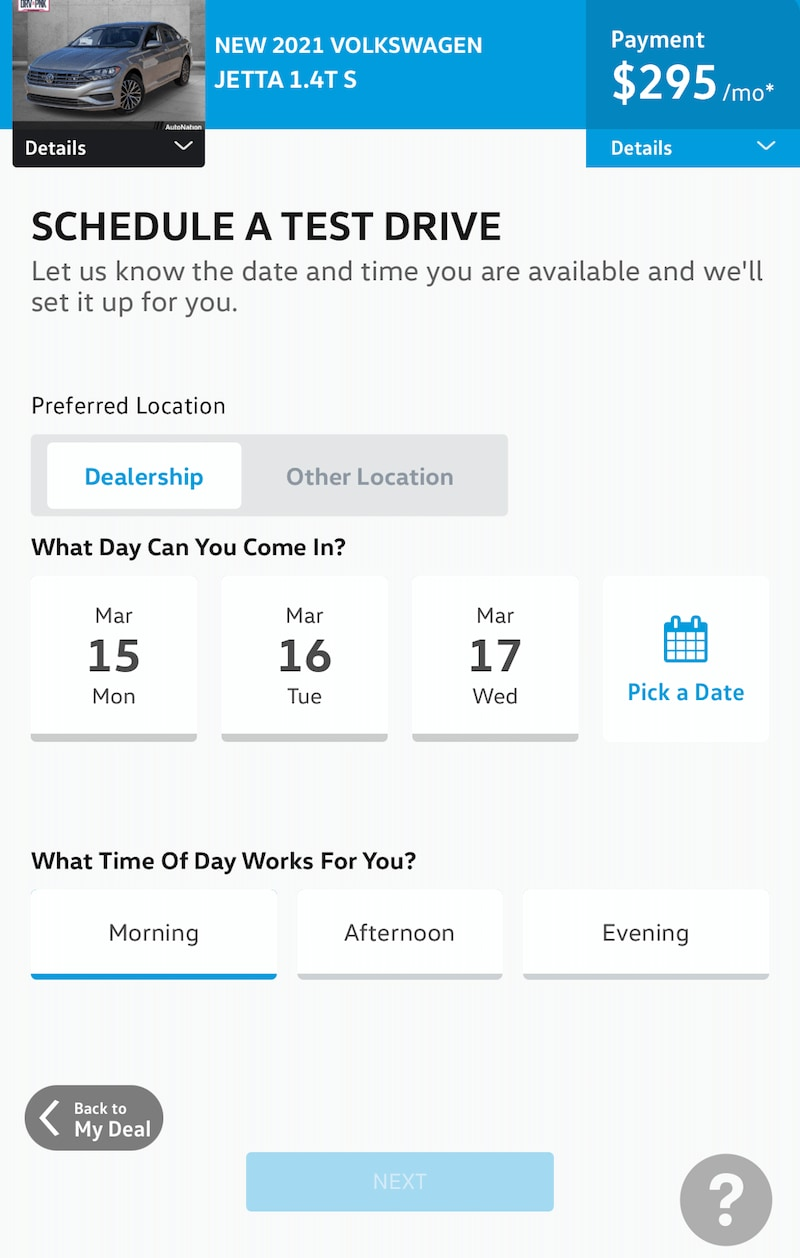 AutoNation Express schedule a test drive screen on a mobile device