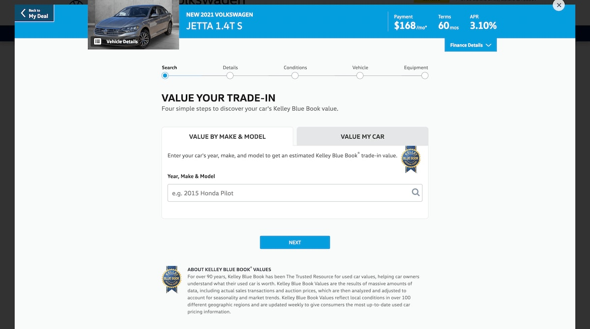 AutoNation Express value your trade-in screen on a desktop