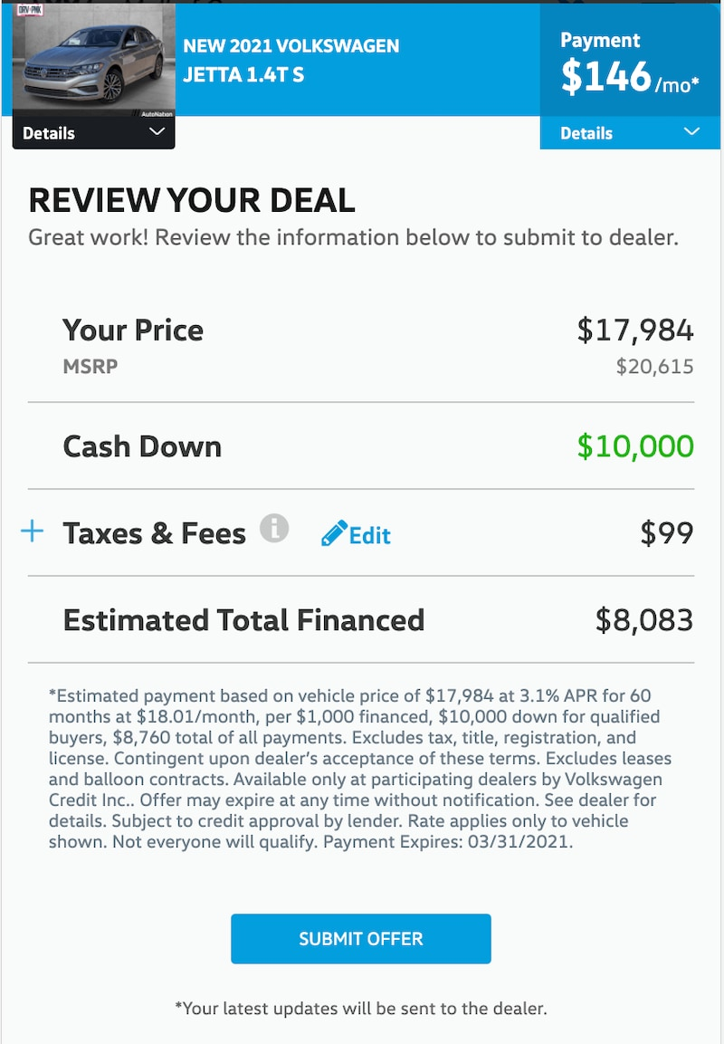 AutoNation Express finalize your deal screen on a mobile device