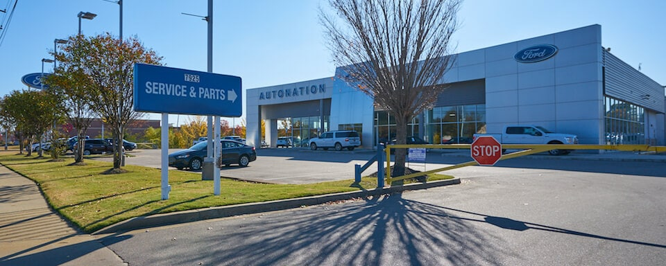 Exterior view of AutoNation Ford Wolfchase service and parts center entrance