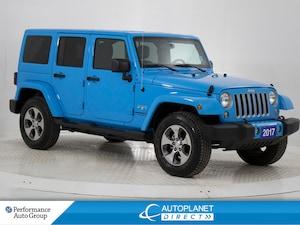 2017 Jeep Wrangler Unlimited Sahara 4x4, Navi, 3 Piece Hard Top, Bluetooth!
