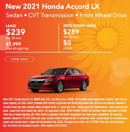 New 2021 Honda Accord LX Lease for $289 per month for 36 months