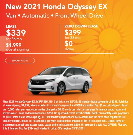 New 2021 Honda Odyssey EX Lease for $399 per month for 36 months