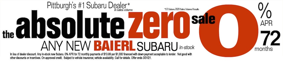 Absolute Zero Sale 0% APR for 72 Months