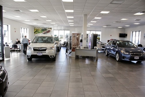 inside the Balise Subaru dealership showroom