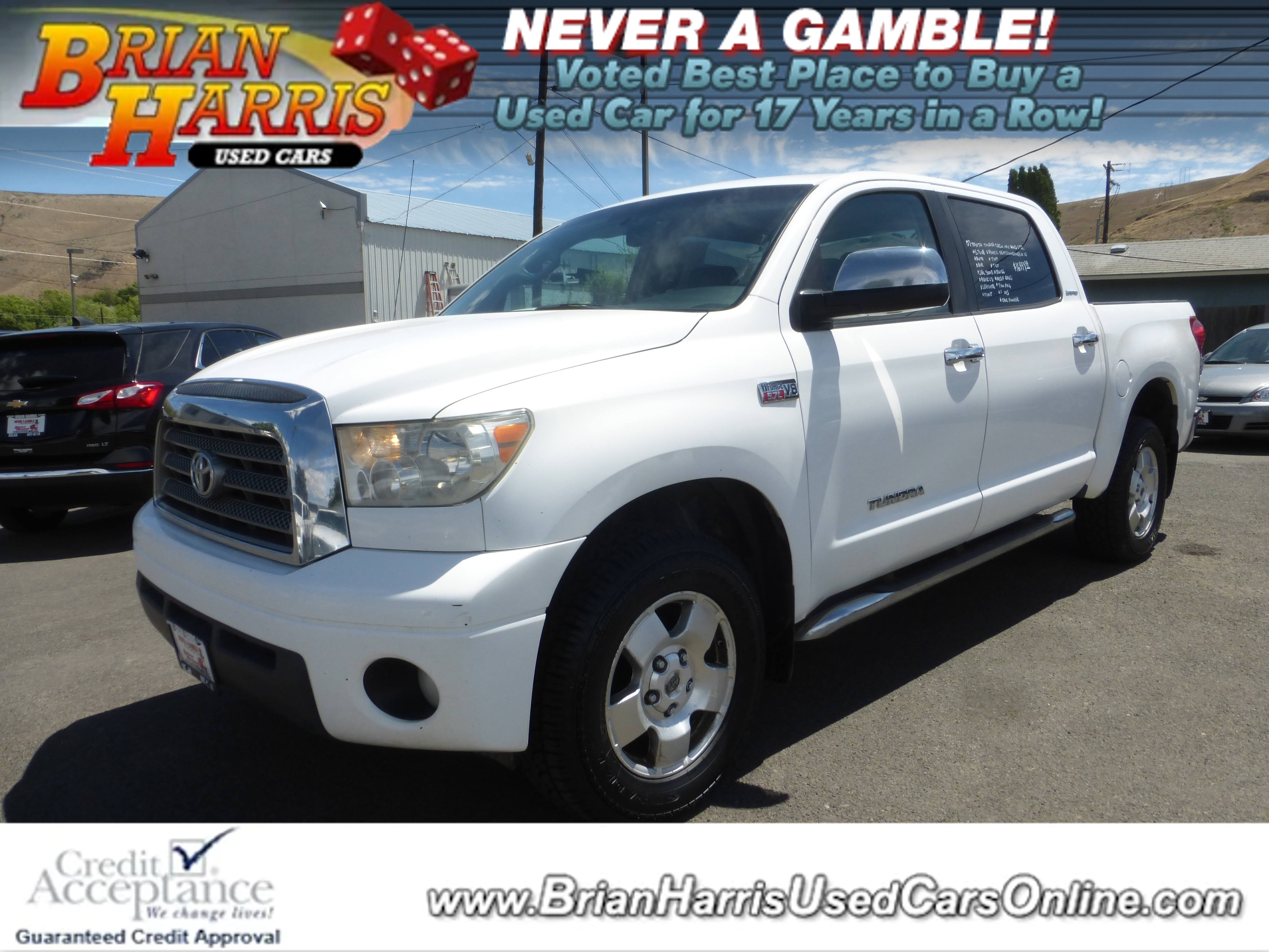 Used 2007 Toyota Tundra For Sale at Brian Harris Used Cars   VIN:  5tfdv58117x032096