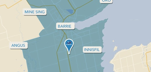 Barrie Subaru Shuttle Service Boundaries