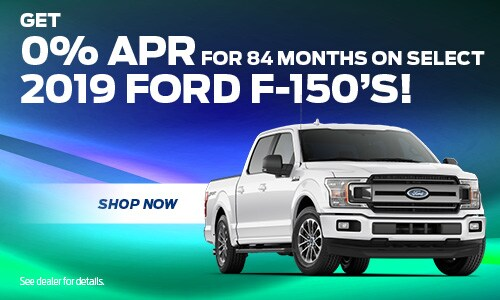 0% APR For 84 Mos. On Select 2019 Ford F-150s